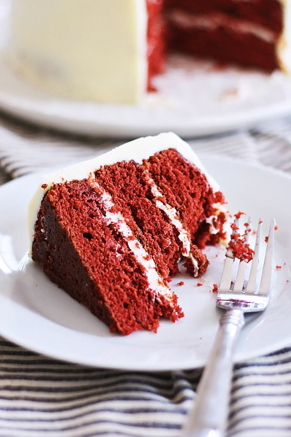 Easy and healthy homemade Red Velvet Cake served in a plate.