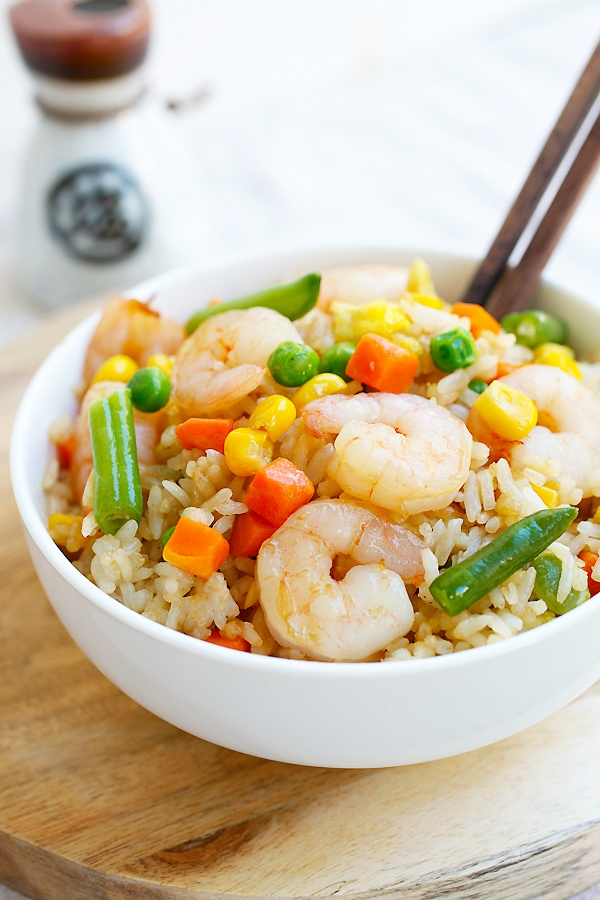 Shrimp fried rice - the easiest shrimp fried rice recipe that takes only 20 mins from prep to dinner table. Healthier and much better than Chinese takeout   rasamalaysia.com