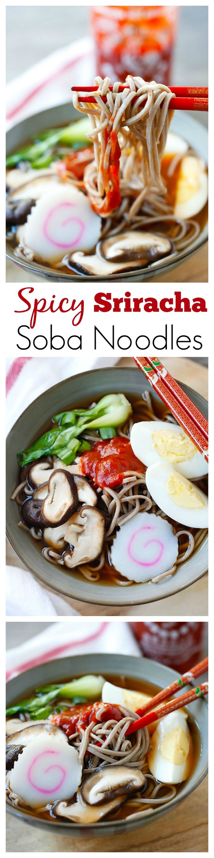 Spicy Sriracha Soba Noodle Soup – the easiest & most delicious noodle soup ever, with spicy Sriracha added to the broth and takes only 15 mins   rasamalaysia.com
