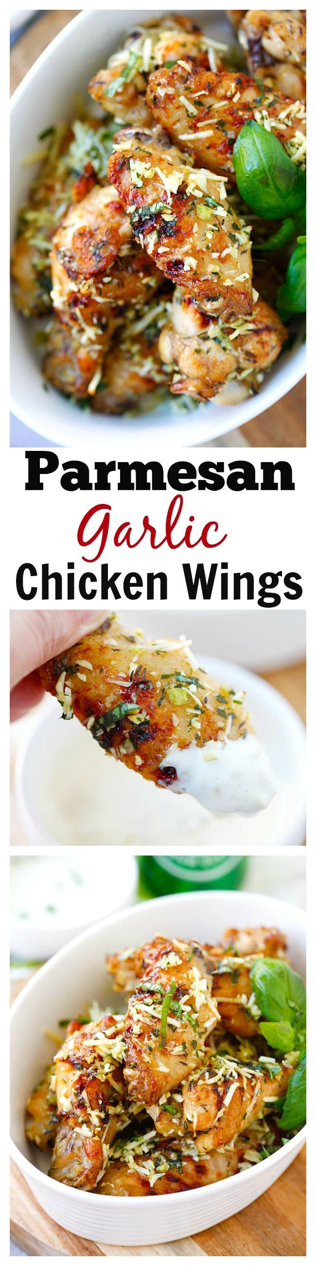 Best and easiest Baked Parmesan Garlic Chicken Wings made with Parmesan, garlic, basil, and spices, with blue cheese mustard dressing. | rasamalaysia.com