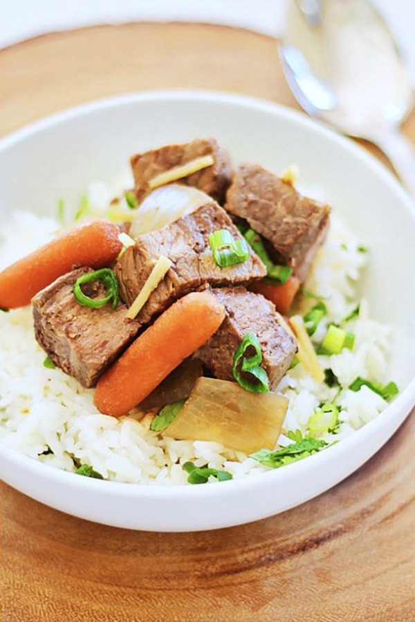 Crock Pot Asian Beef Stew recipe with rice.