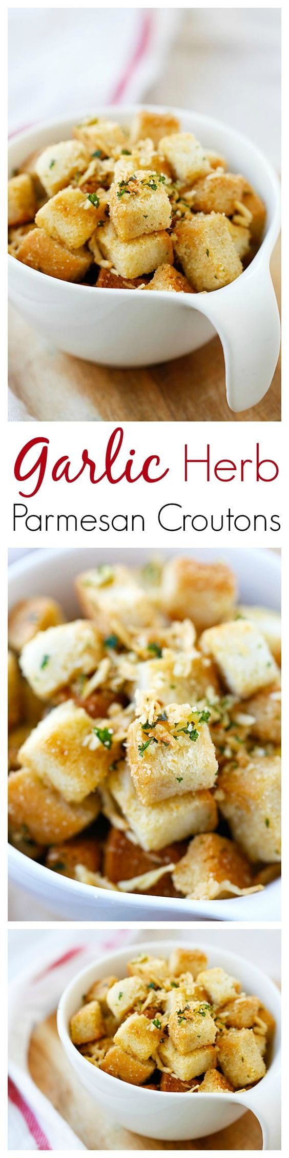 Garlic Herb Parmesan Croutons – amazing and super crispy croutons at home with this easy recipe that takes only 25 mins from prep to dinner table | rasamalaysia.com