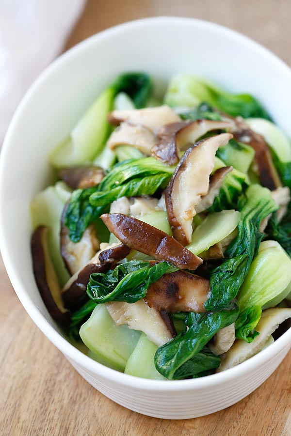 Garlic Mushroom Bok Choy with easy ingredients in a serving dish.