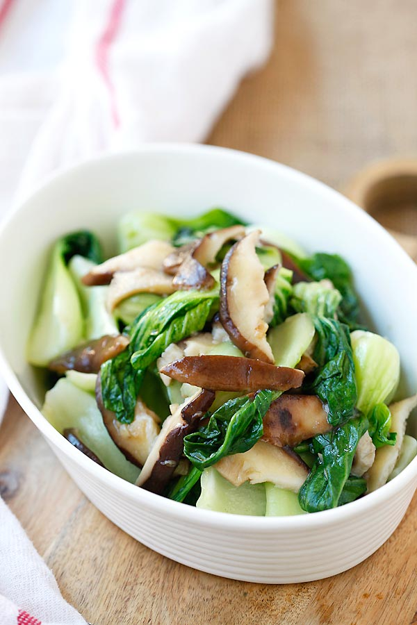 Healthy homemade veggie dish with bok choy, mushroom and garlic.