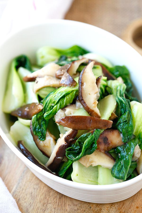 Quick and easy Asian green stir fry Garlic Mushroom Bok Choy.