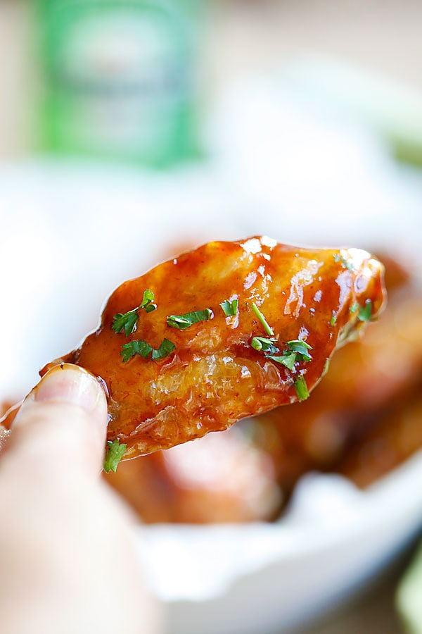 Homemade Honey BBQ Chicken Wings close up.