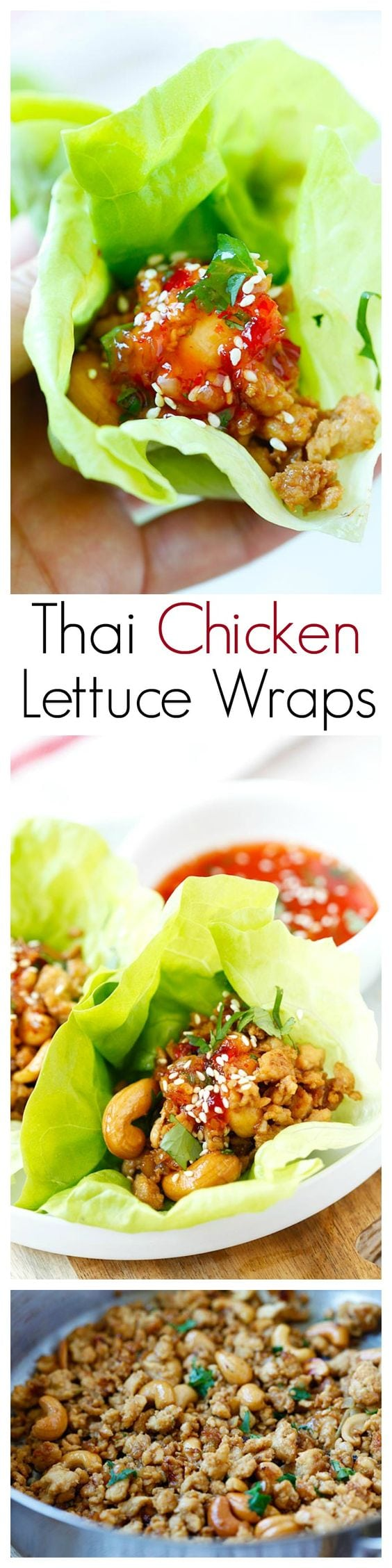 Thai Chicken Lettuce Wraps – easy, healthy and delicious chicken wraps with Thai sweet chili sauce. Takes 20 mins to make!   rasamalaysia.com