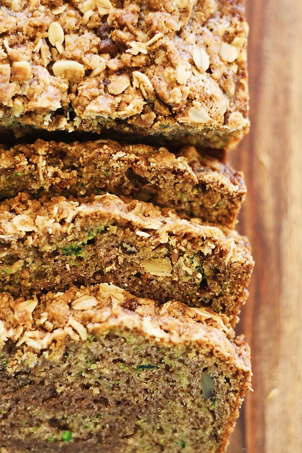 Easy and delicious Zucchini Bread made with walnuts and crumb topping of cinnamon and butter.