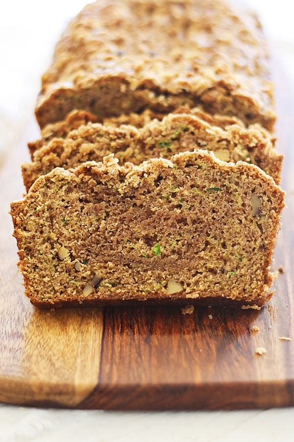 Homemade healthy zucchini bread loaf, ready to serve.