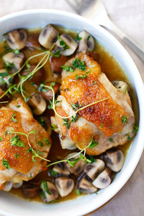 French style Chicken breast with Sauteed Mushroom ready to serve.
