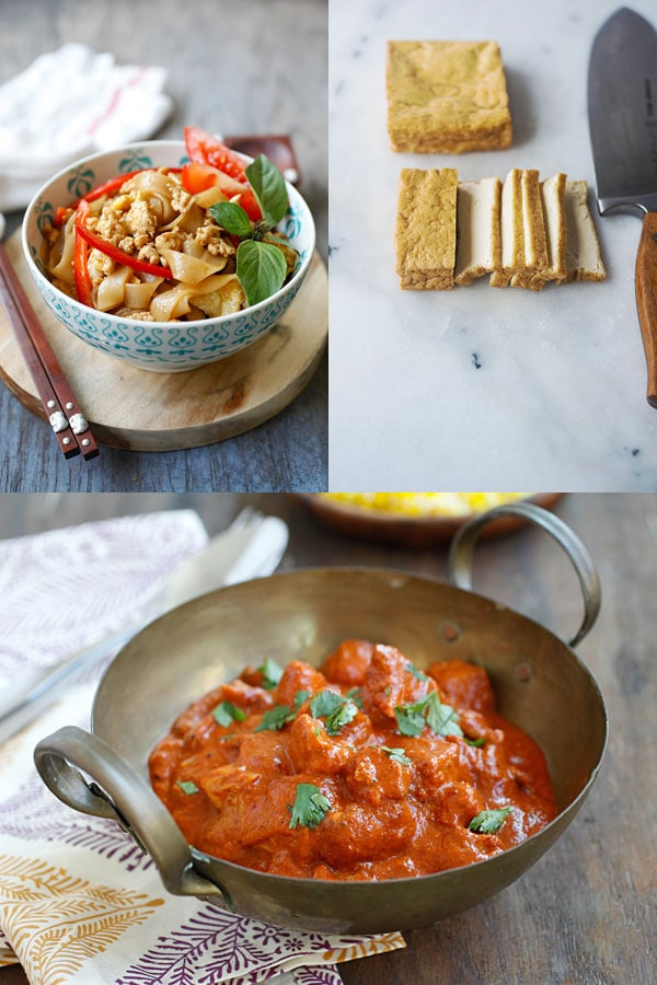Thai Drunken Noodles (Pad Kee Mao) and Chicken Tikka Masala. Get these amazing recipes exclusively on Easy Asian Takeout ebook | rasamalaysia.com