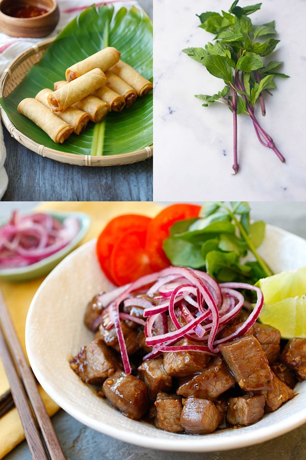 Easy Asian Takeout - Vietnamese spring rolls and Shaking Beef. Get the recipes exclusively on Easy Asian Takeout ebook! | rasamalaysia.com