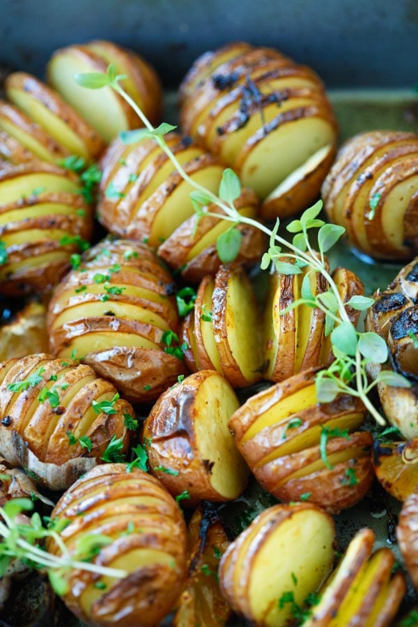 Homemade garlic Herb hasselback Potatoes with herb, olive oil butter and lemon.
