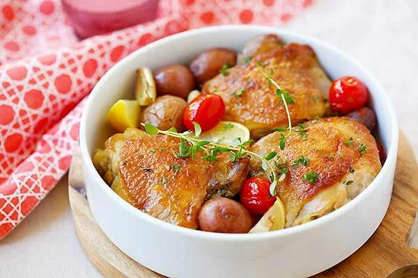 Lemon-Garlic Chicken and Potatoes - one pot braised chicken with lemon ...