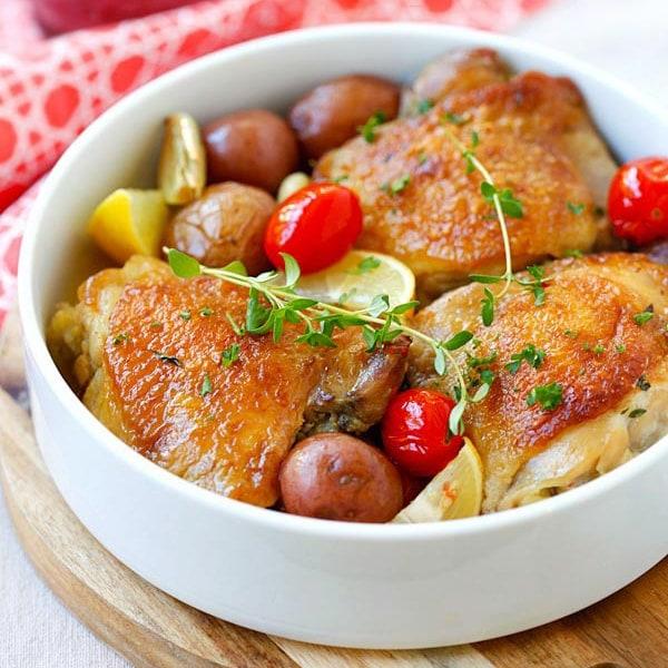 Lemon-Garlic Braised Chicken And Potatoes