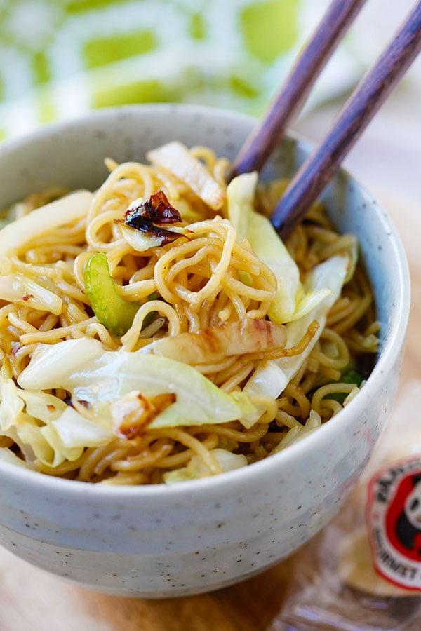 Panda Express Chow Mein - BEST copycat recipe ever that tastes EXACTLY like Panda Express. So good, so easy, healthier, cheaper, and takes 15 mins!! | rasamalaysia.com