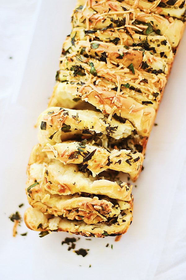 Easy and delicious homemade Garlic Herb and Cheese Pull Apart Bread.
