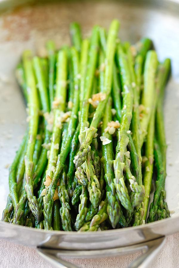 Stove top Cooked Asparagus with Garlic and Butter.