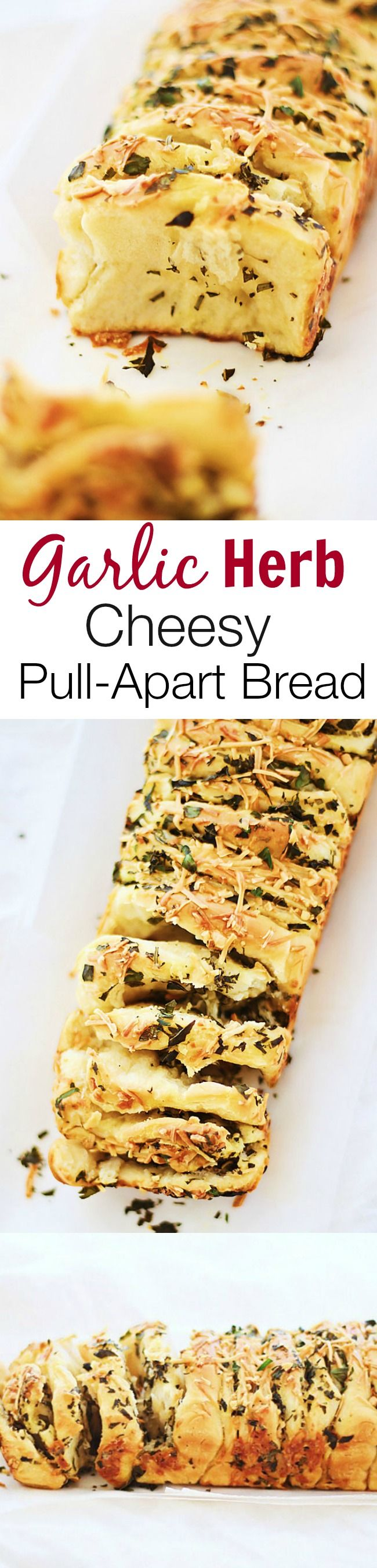 Garlic Herb and Cheese Pull Apart Bread – AMAZING pull-apart bread that is loaded with cheese and garlic herb butter, so good you can't stop eating!! | rasamalaysia.com
