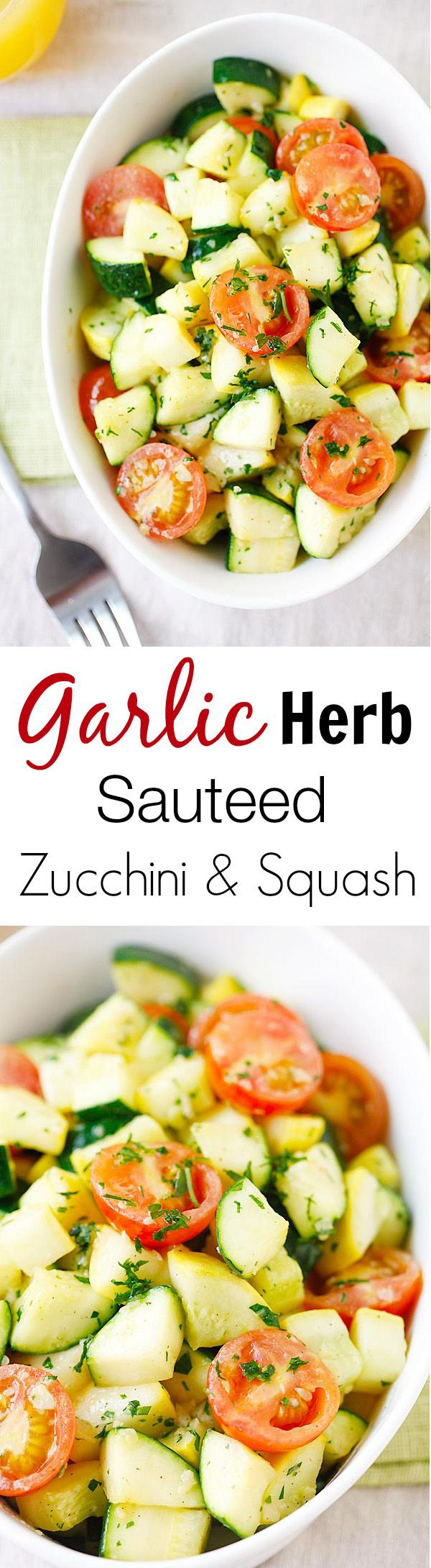 Garlic Herb Sauteed Zucchini and Squash - the healthiest and freshest side dish EVER with zucchini and squash, sauteed with garlic herb butter   rasamalaysia.com
