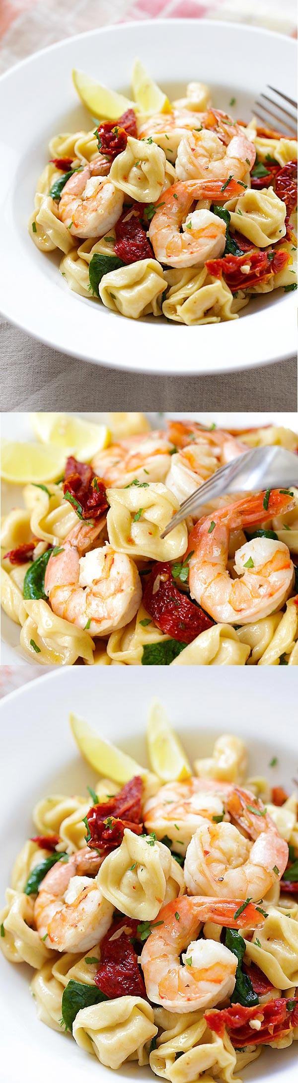 Amazing recipe for homemade Garlic Shrimp Tortellini. Budget-friendly and the taste is better than any Italian restaurant's!   rasamalaysia.com