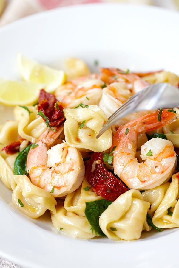Healthy homemade Garlic Shrimp Tortellini pasta ready to serve.