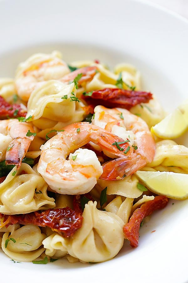 Close up of Garlic Shrimp pasta in a plate.