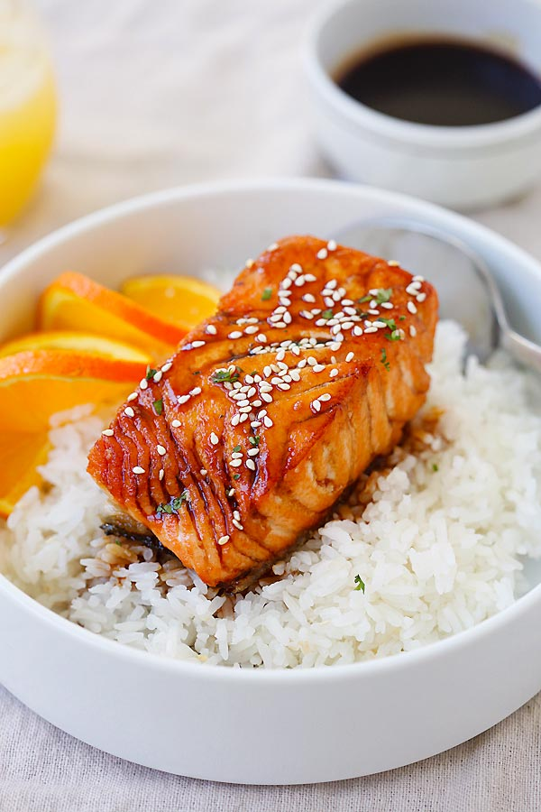Quick and easy Salmon with Orange Teriyaki Glaze on top of rice.