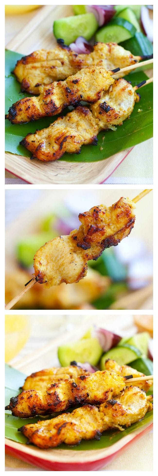 Chicken satay. The most amazing Chicken satay recipe with skewered marinated chicken and grilled to perfection. Enjoy the end of summer grill with these chicken satay | rasamalaysia.com