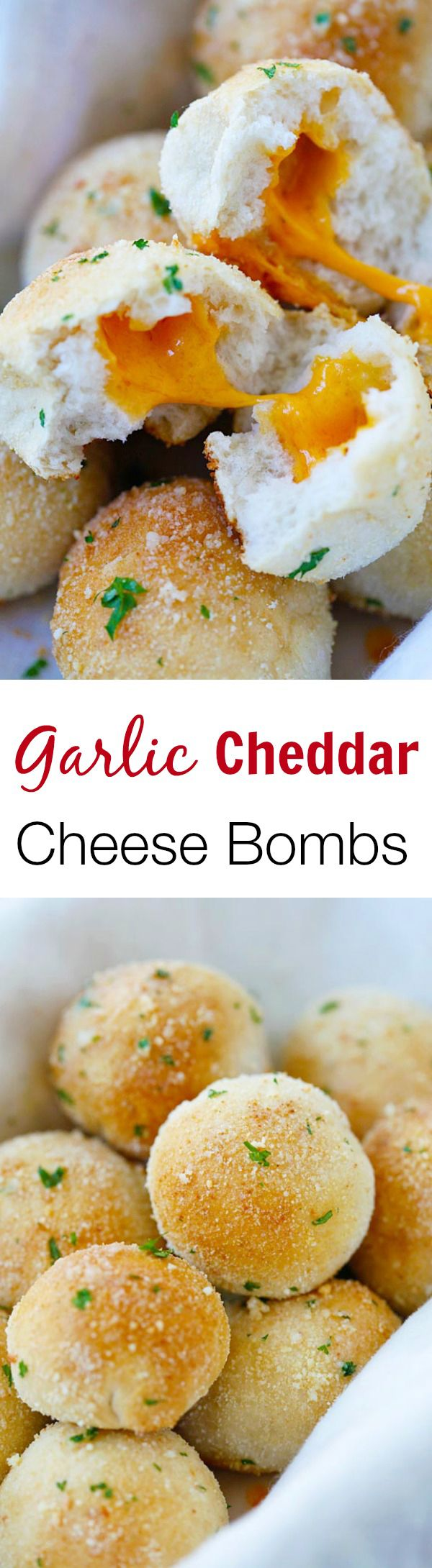 Garlic Cheddar Cheese Bombs – amazing cheese bomb biscuits loaded with Cheddar cheese & topped with Parmesan cheese.   rasamalaysia.com