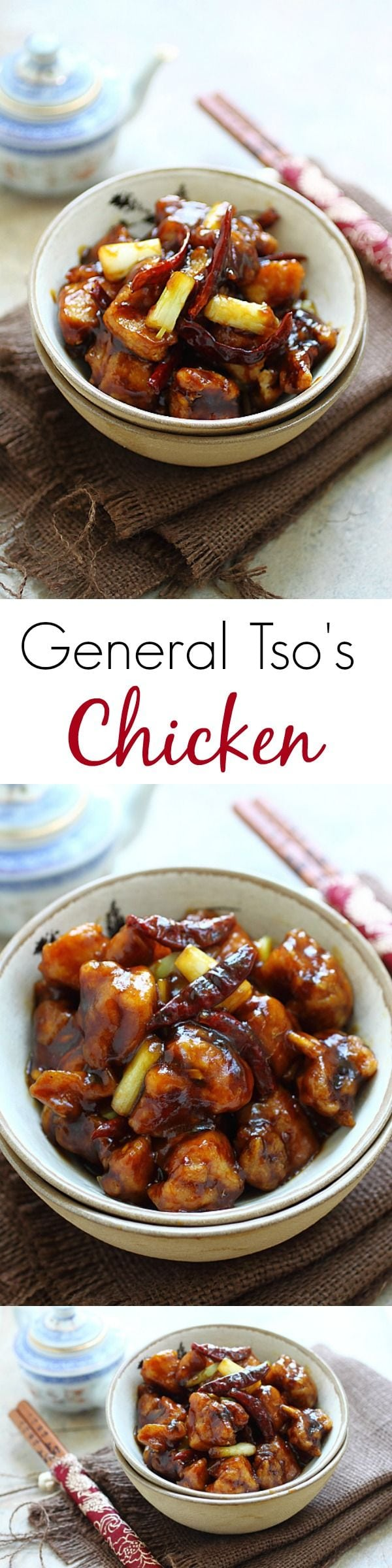 General Tso's chicken - BEST and easiest General Tso's Chicken ever. SO delicious and much better and healthier than Chinese takeout! | rasamalaysia.com