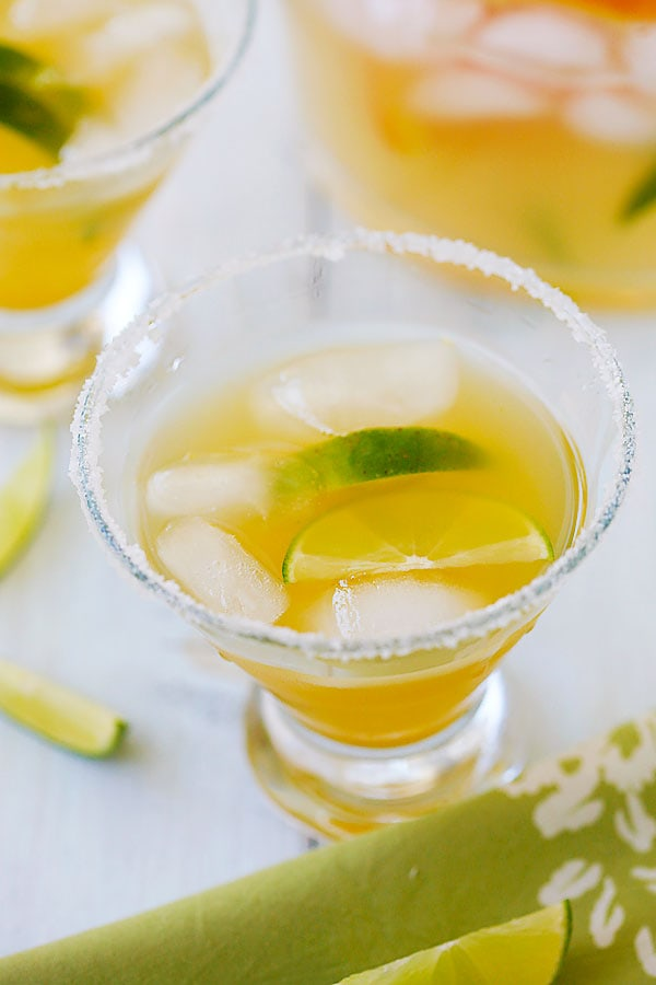 Easy and the best orange and lime margarita with fresh orange juice, lime juice and tequila.