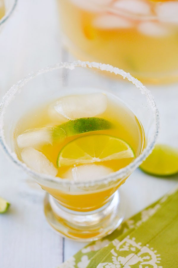 Easy homemade iced Orange-Lime Margarita ready to serve.
