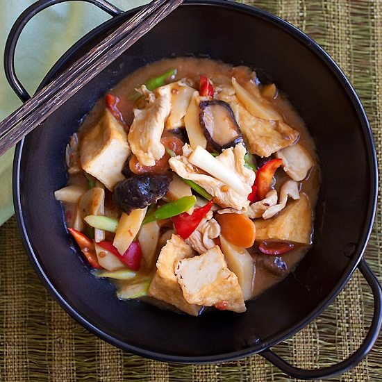 Braised Bean Curd (Firm Tofu) with Mushrooms Recipe | Easy Delicious ...