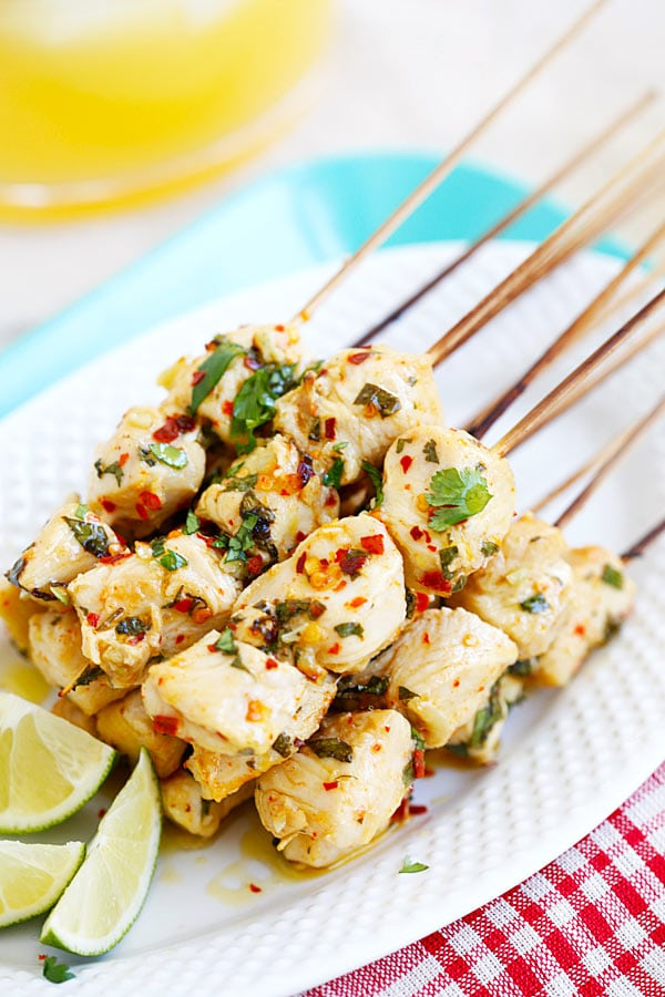 Homemade marinade Cilantro Lime Chicken Kebab skewers on a plate.