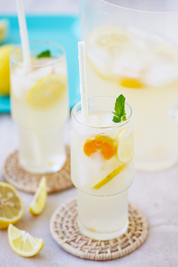 Easy homemade coconut water lemonade.