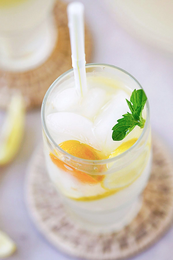 Easy and quick homemade coconut water lemonade serve in a glass.