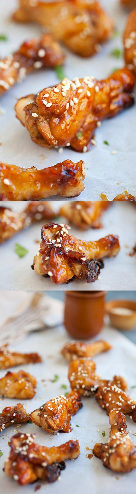 Honey Soy Chicken Wings - sweet and sticky wings with honey and soy sauce glaze and baked in oven. Quick and no-fuss everyday recipe! | rasamalaysia.com