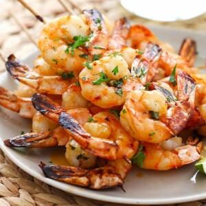honey sriracha shrimp kebab