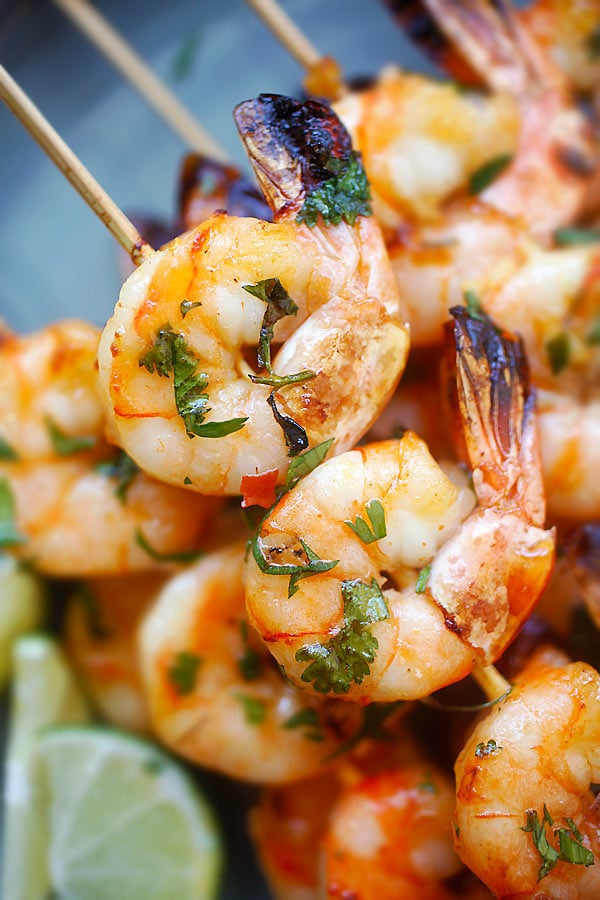 Honey Sriracha Shrimp Kebab in skewers.