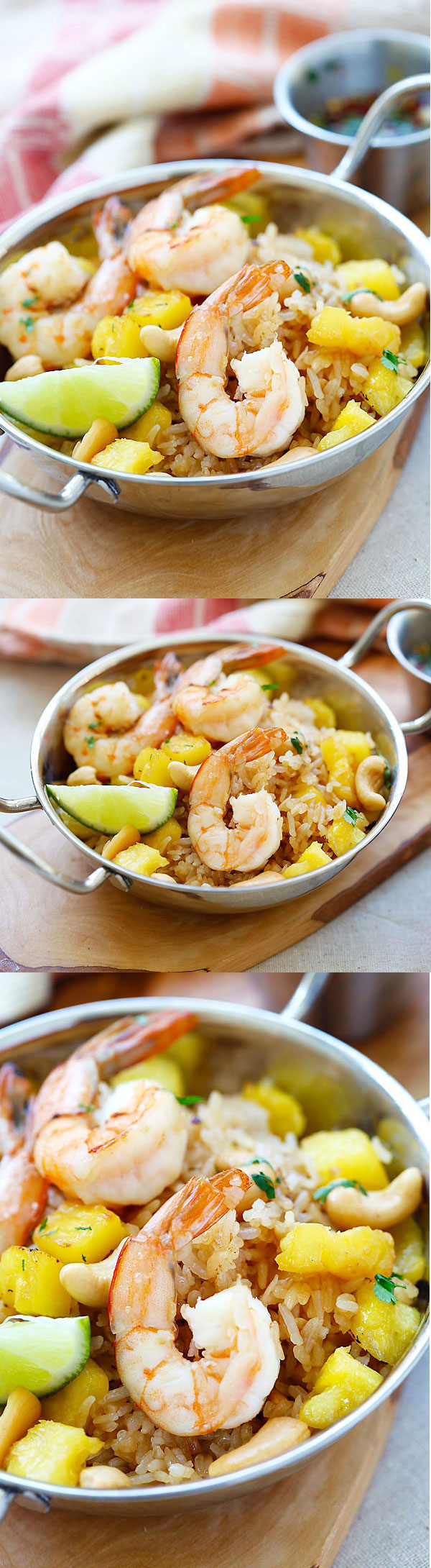 Thai Pineapple fried rice - amazing fried rice recipe with pineapple, shrimp and cashew nuts. Easy recipe that takes only 20 mins   rasamalaysia.com