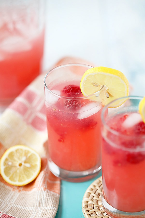 Easy and quick iced Raspberry Lemonade in glasses.