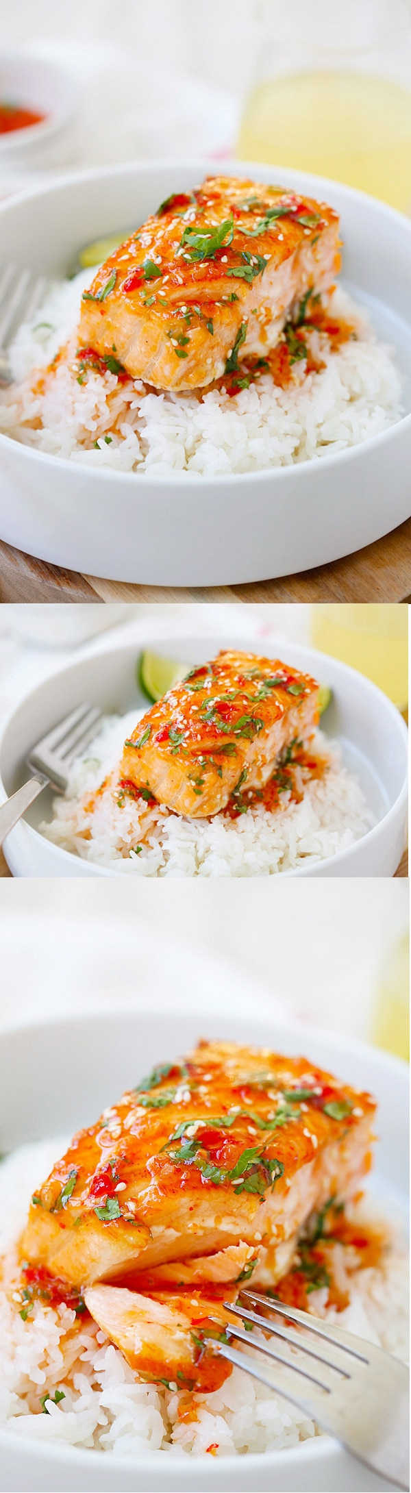 Sweet Chili Salmon - quick and easy salmon with Thai sweet chili sauce. The recipe takes only 15 mins on skillet or you can bake it.