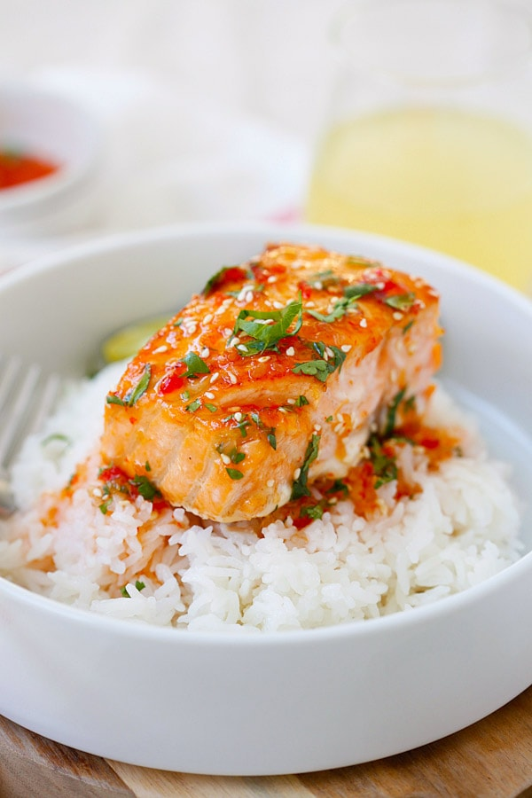 Salmon with Thai sweet chili sauce on top of rice.