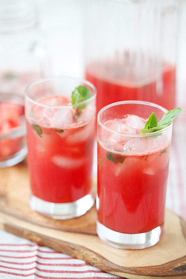 Watermelon-Tequila Cocktail - refreshing and amazing cocktail recipe with fresh watermelon, tequila, lime juice and mint, takes 15 mins | rasamalaysia.com