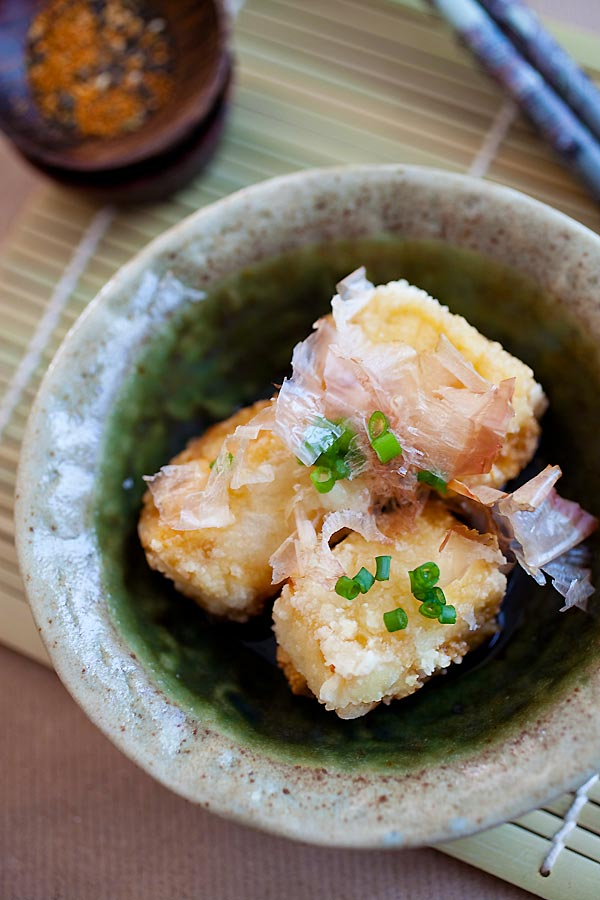 Agedashi Tofu – a popular Japanese appetizer of deep fried tofu in a sweet and savory sauce. Super healthy, delicious and easy to make! | rasamalaysia.com