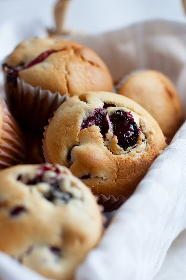 A delicious recipe for fluffy, tender, moist-crumbed Blackberry Muffins that are bursting at the seams with fresh blackberries. | rasamalaysia.com