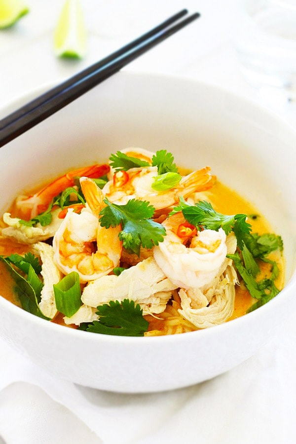 Thai Coconut Curry Noodle with rich coconut curry in a bowl.