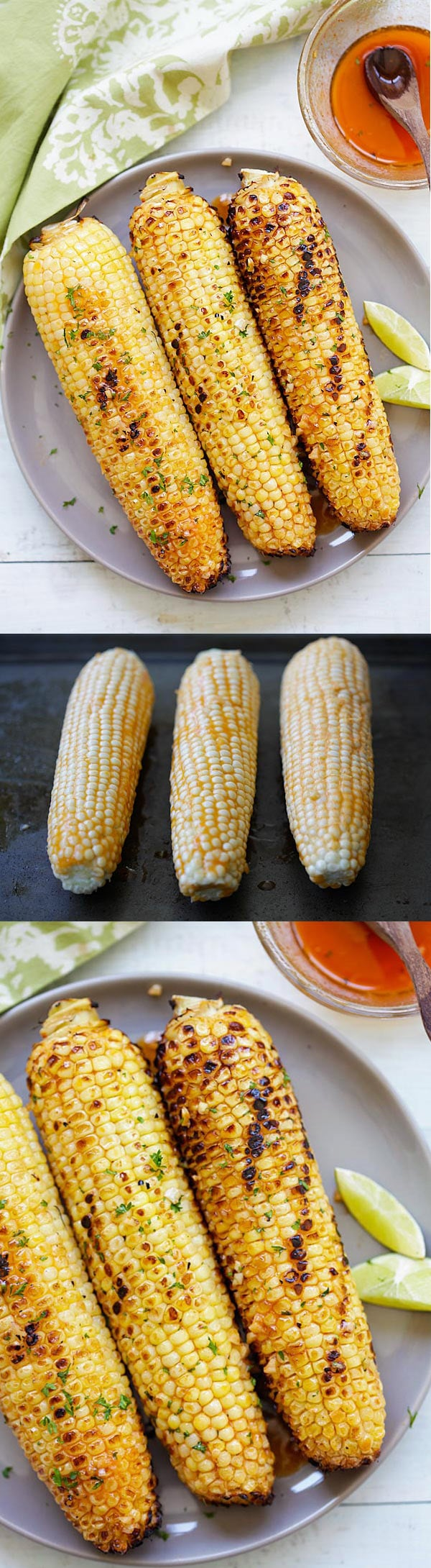 Honey Sriracha Butter Grilled Corn - buttery, sweet and slightly spicy grilled corns with honey sriracha butter. So easy and so good! | rasamalaysia.com
