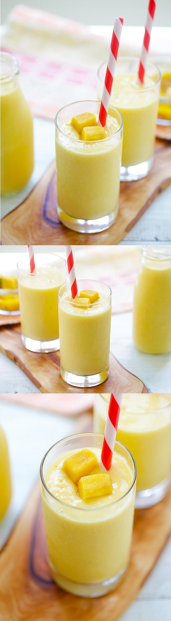 Mango Lassi - a rich, popular Indian smoothie with fresh mango, yogurt and honey. Easy recipe that takes 10 mins to make! | rasamalaysia.com